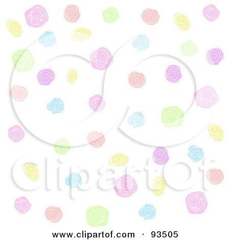 Royalty-Free (RF) Clipart Illustration of a Background Of Colorful Roses And Flowers On White by Pushkin