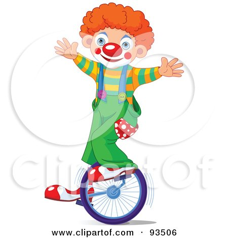 Royalty-Free (RF) Clipart Illustration of a Cute Party Clown Boy Riding A Unicycle by Pushkin