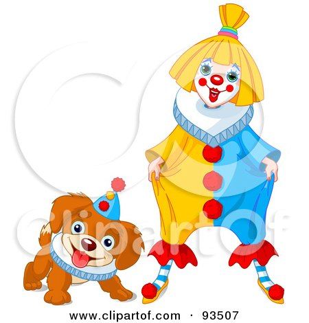Royalty-Free (RF) Clipart Illustration of a Cute Party Clown And Puppy Dog by Pushkin