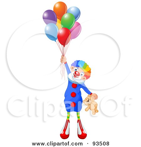 Royalty-Free (RF) Clipart Illustration of a Cute Party Clown Holding A Teddy Bear And Bunch Of Balloons by Pushkin