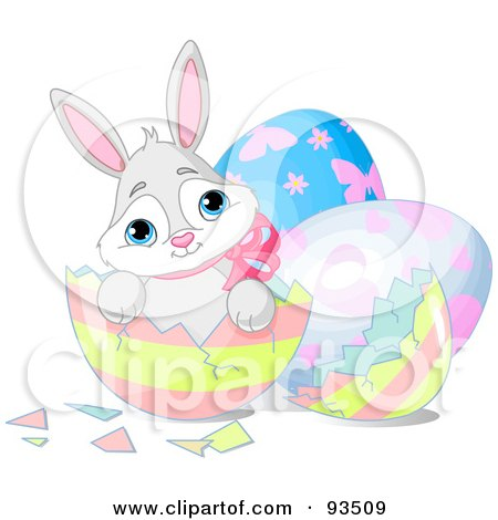 Royalty-Free (RF) Clipart Illustration of a Adorable Easter Bunny Sitting In A Broken Striped Egg Shell by Pushkin