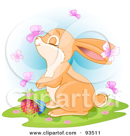 Royalty-Free (RF) Clipart Illustration of a Butterfly Landing On An Easter Bunny's Nose by Pushkin