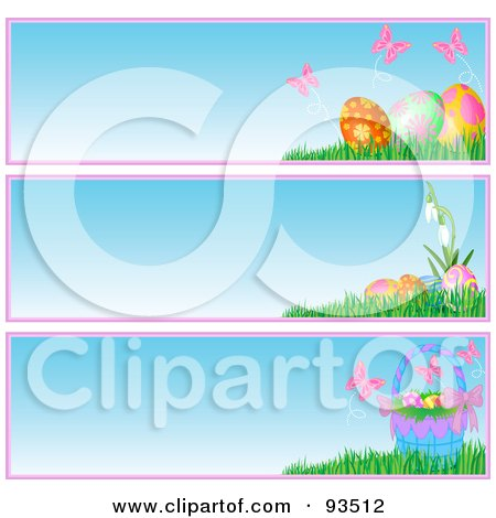 Royalty-Free (RF) Clipart Illustration of a Digital Collage Of Butterfly, Basket And Easter Egg Website Banners by Pushkin
