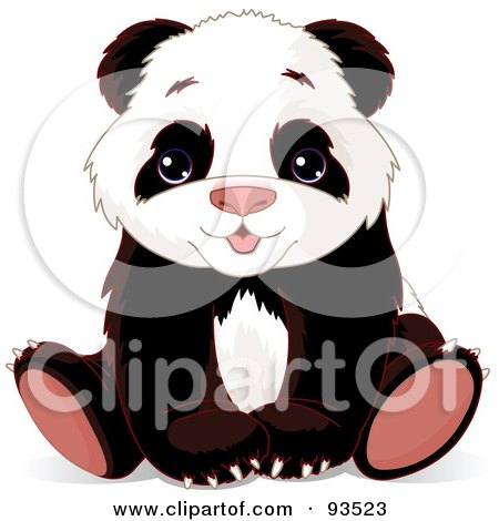 Royalty-Free (RF) Clipart Illustration of an Adorable Baby Panda Bear Sitting With His Paws Between His Legs by Pushkin
