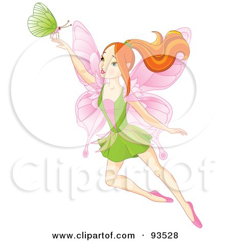 Red Haired Spring Fairy With A Green Butterfly Posters, Art Prints