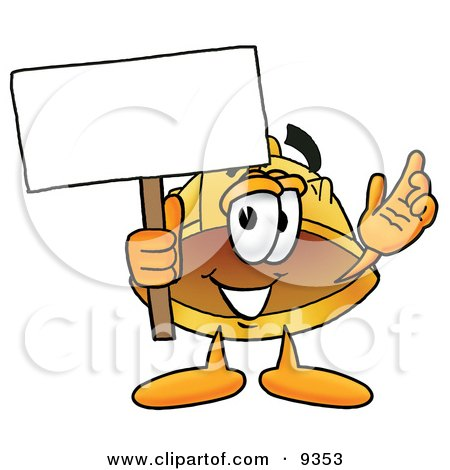 Clipart Picture of a Hard Hat Mascot Cartoon Character Holding a Blank Sign by Toons4Biz