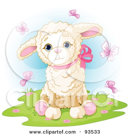 Royalty-Free (RF) Clipart Illustration of a Cute Baby Lamb Surrounded By Pink Butterflies by Pushkin