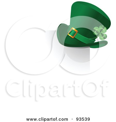Royalty-Free (RF) Clipart Illustration of a Green St Patricks Day Leprechaun Hat On The Corner Of A Shadow, Over White by Pushkin