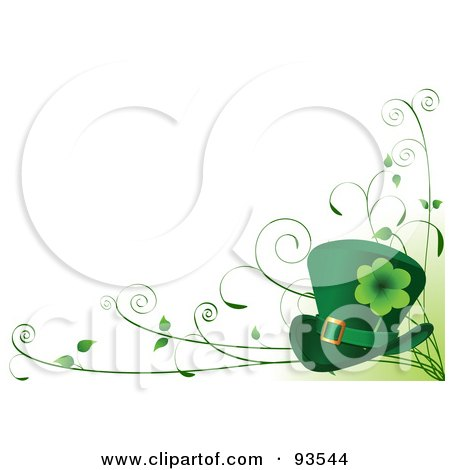 Royalty-Free (RF) Clipart Illustration of a St Patricks Day Background With A Leprechaun Hat And Vines Over White by Pushkin