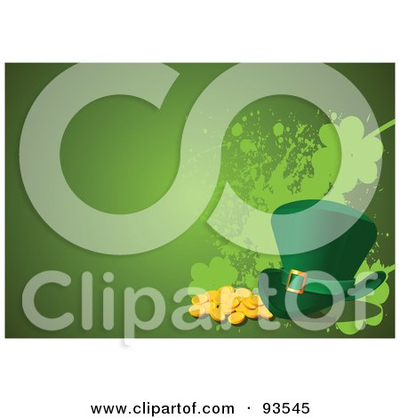 Royalty-Free (RF) Clipart Illustration of a Green St Patricks Day Leprechaun Hat With Gold Coins On Grungy Green by Pushkin