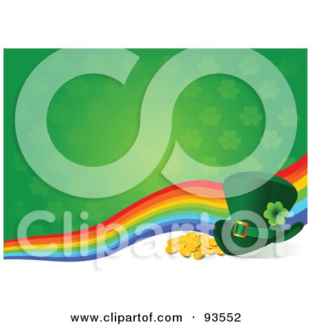 Royalty-Free (RF) Clipart Illustration of a St Patricks Day Leprechaun Hat With Gold Coins And A Rainbow On A Clover Background by Pushkin