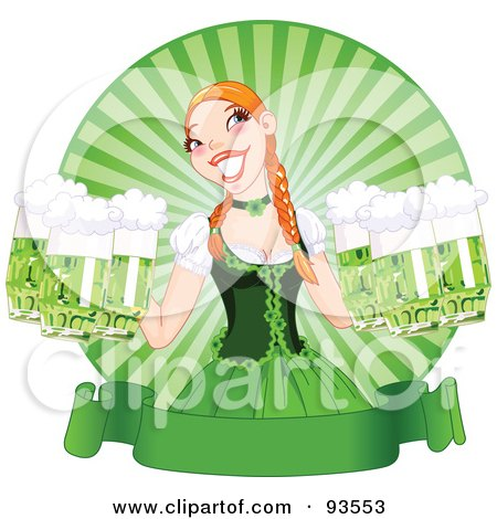 Royalty-Free (RF) Clipart Illustration of a Beautiful Beer Maiden Holding Green Beers Over A Blank St Paddy's Day Banner by Pushkin