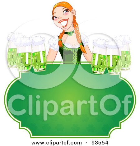 Royalty-Free (RF) Clipart Illustration of a Beautiful Beer Maiden Holding Green Beers Over A Blank St Patricks Day Sign by Pushkin