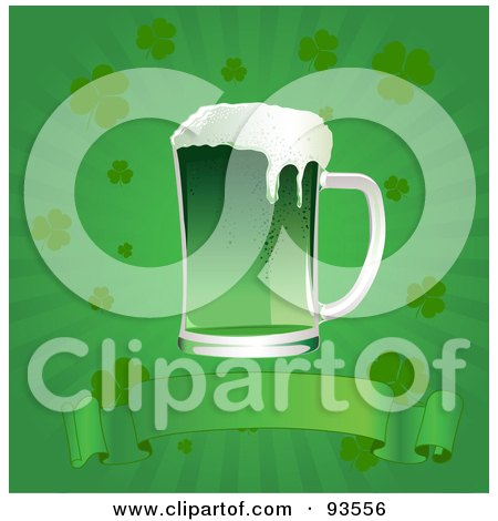 Royalty Free RF Clipart Illustration Of A Green St Patricks Day Beer Over A Blank Banner On A Green Clover Burst Background