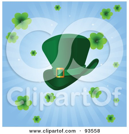 Royalty-Free (RF) Clipart Illustration of a Green St Patricks Day Leprechaun Hat With Clovers On A Blue Burst Background by Pushkin