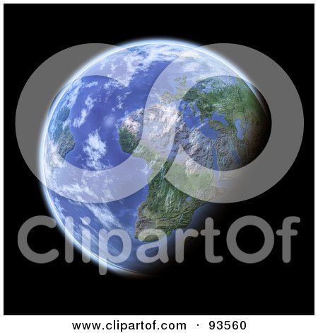 Royalty-Free (RF) Clipart Illustration of a 3d Globe, Centered On Africa, As Seen From Space, On Black by Michael Schmeling