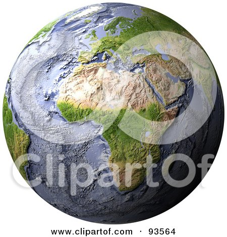 Royalty-Free (RF) Clipart Illustration of a 3d Shaded Relief Globe Of Africa With Shaded Ocean Floor by Michael Schmeling