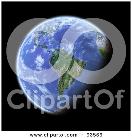 Royalty-Free (RF) Clipart Illustration of a 3d Globe, Centered On South America, As Seen From Space, On Black by Michael Schmeling
