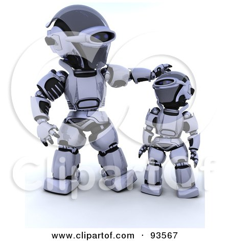 Royalty-Free (RF) Clipart Illustration of a 3d Silver Robot Patting His Child On The ...
