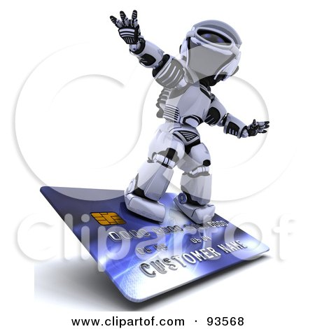 Royalty-Free (RF) Clipart Illustration of a 3d Silver Robot Riding On A Blue Credit Card by KJ Pargeter