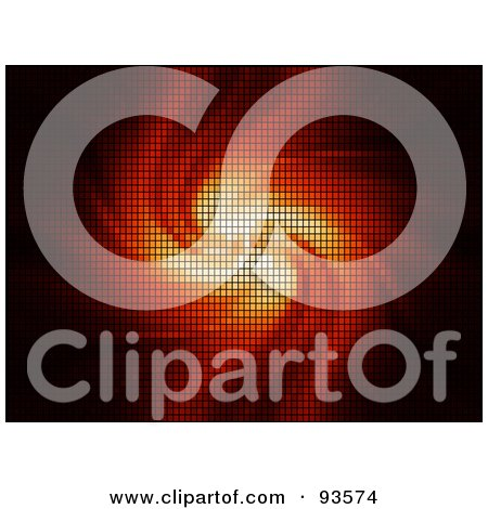 Royalty-Free (RF) Clipart Illustration of an Abstract Pixel Background Of Swirling Fire by KJ Pargeter