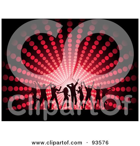Royalty-Free (RF) Clipart Illustration of a Silhouetted Dancing Group Against A Red Halftone Circle Background by KJ Pargeter