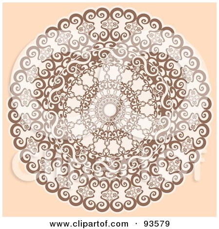 Royalty-Free (RF) Clipart Illustration of a Round Decorative Medallion Design On Beige by KJ Pargeter