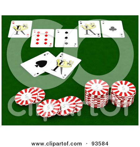 Royalty-Free (RF) Clipart Illustration of Poker Chips And Playing Cards On A Green Casino Table  by KJ Pargeter