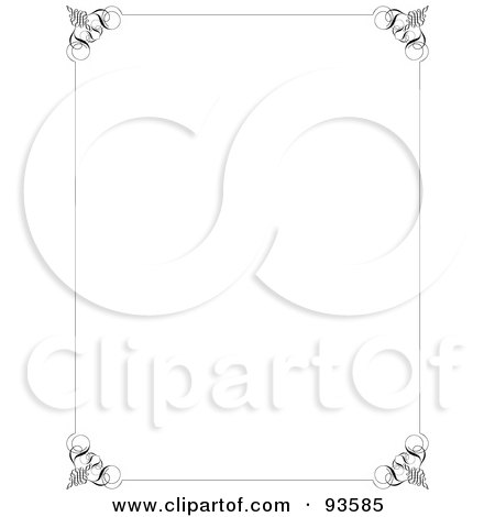 Royalty-Free (RF) Clipart Illustration of a White Background Bordered With Ornate Edges And Corners by KJ Pargeter