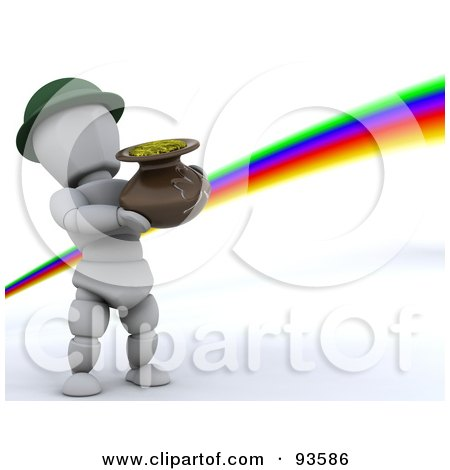 Royalty-Free (RF) Clipart Illustration of a 3d White Character Leprechaun Carrying A Pot Of Gold At The End Of A Rainbow by KJ Pargeter