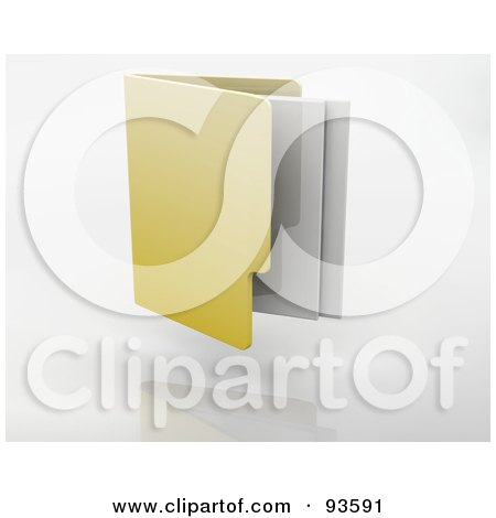 Royalty-Free (RF) Clipart Illustration of Papers Emerging From A 3d Yellow Filing Folder by KJ Pargeter