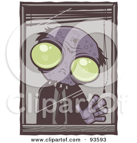 Royalty-Free (RF) Clipart Illustration of a Zombie Waving Out From His Office Window, With White Edges by John Schwegel