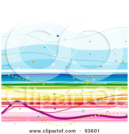 Royalty-Free (RF) Clipart Illustration of a Square Background Of Colorful Rainbow Lines On White by BNP Design Studio
