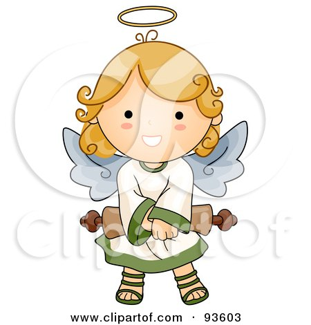 Royalty-Free (RF) Clipart Illustration of a Cute Angel Girl Holding A Scroll by BNP Design Studio
