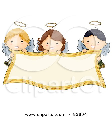 Royalty-Free (RF) Clipart Illustration of Cute Angel Girls Holding A Blank Banner by BNP Design Studio