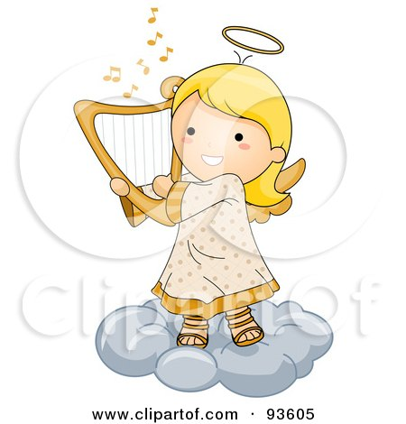 Royalty-Free (RF) Clipart Illustration of a Cute Angel Girl Playing A Harp On A Cloud by BNP Design Studio