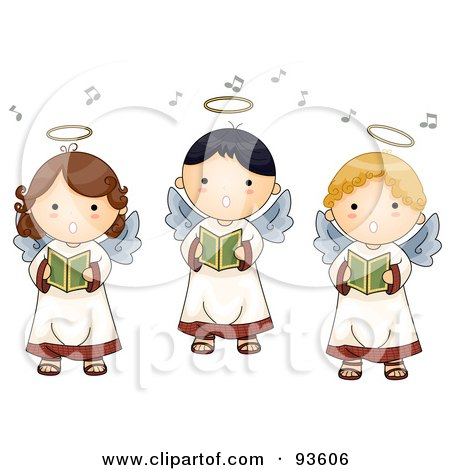 Royalty-Free (RF) Clipart Illustration of a Trio Of Cute Singing Angel Boys And Girls by BNP Design Studio