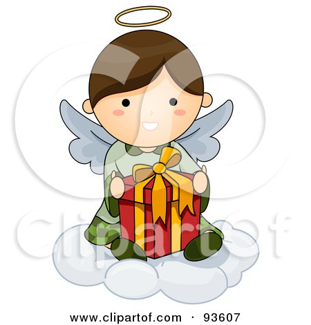 Royalty-Free (RF) Clipart Illustration of a Cute Angel Sitting On A Cloud With A Gift by BNP Design Studio