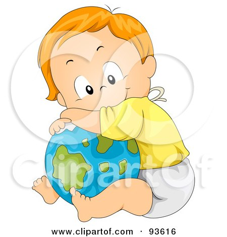 Baby Boy Leaning And Resting On A Globe Posters, Art Prints