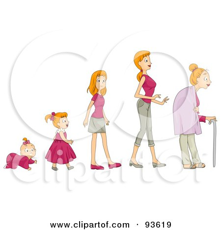 Royalty-Free (RF) Clipart Illustration of a Baby Shown In Stages Of Growth To Girl, Teen, Woman And Senior by BNP Design Studio