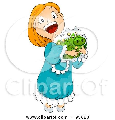 Royalty-Free (RF) Clipart Illustration of a Little Girl Hugging Her Piggy Bank by BNP Design Studio