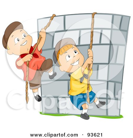 Royalty-Free (RF) Clipart Illustration of Boys Climbing Ropes Over A Stone Wall  by BNP Design Studio