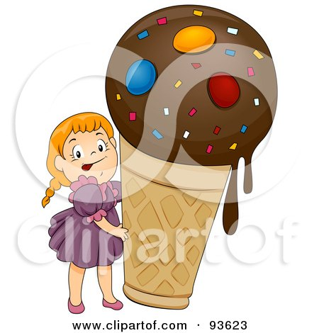 Royalty-Free (RF) Clipart Illustration of a Little Girl Beside A Giant Ice Cream Cone by BNP Design Studio