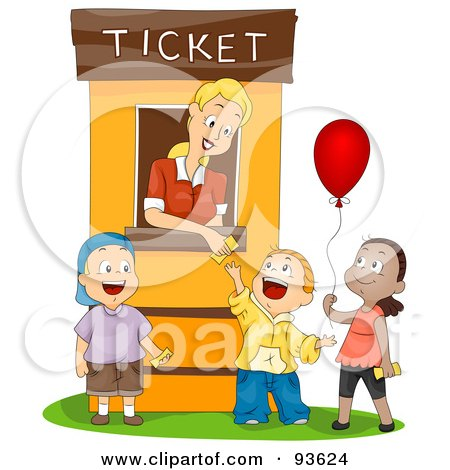 Royalty-Free (RF) Clipart Illustration of a Ticket Booth Woman Assisting Three Kids by BNP Design Studio
