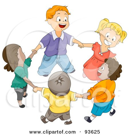 Royalty-Free (RF) Clipart Illustration of a Group Of Happy Diverse Kids Holding Hands And Walking In A Circle by BNP Design Studio