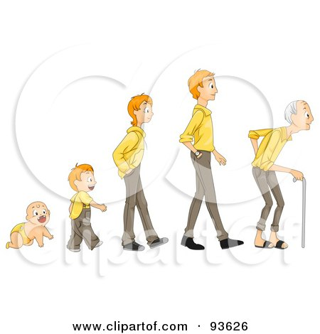 Royalty-Free (RF) Clipart Illustration of a Baby Shown In Stages Of Growth To Boy, Teen, Man And Senior by BNP Design Studio
