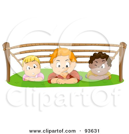 Royalty-Free (RF) Clipart Illustration of a Group Of Kids Hiding Out And Crawling Under Ropes by BNP Design Studio