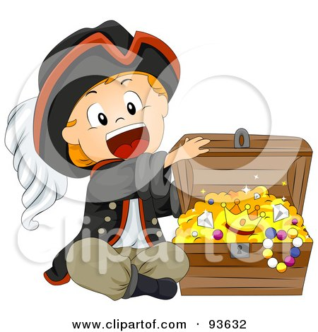 Royalty-Free (RF) Clipart Illustration of a Little Pirate Boy Opening A Treasure Chest by BNP Design Studio
