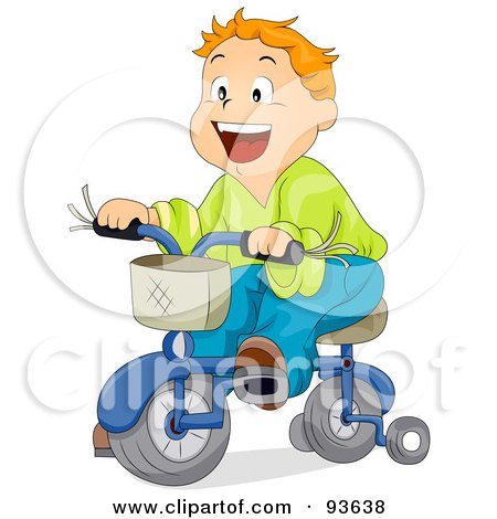 Little Boy Riding A Bicycle With Training Wheels Posters, Art Prints