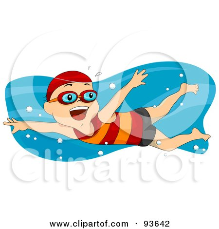 Royalty-Free (RF) Clipart Illustration of a Little Boy Smiling And Swimming by BNP Design Studio